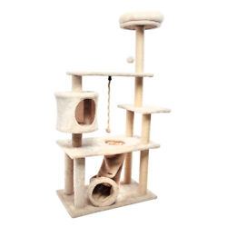 55#x27;#x27; Multi Level Cat Tree with Kitten House Condo Furniture Scratching Post