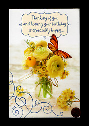 THINKING OF YOU Butterfly Flowers GLITTERED LARGE Greeting Card W TRACKING