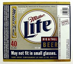 Miller Brewing Co. Miller Lite - Big And Tall Beer Label Wi 40oz 813405