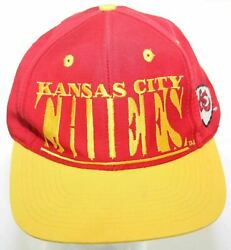 Vintage 1990s Kansas City Chiefs Script Logo 7 Nfl Snapback Cap Red And Yellow Hat