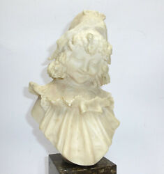 Large Bust About 1900 Alabaster Marble