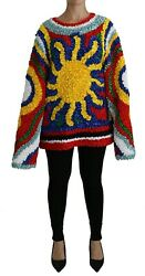 Dolce And Gabbana Blouse Sweater Multicolor Sun Ruffled Top It40 /us6 /s Rrp 2900