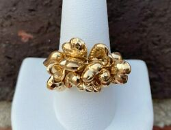 14kt Yellow Gold Moveable Heart Cluster Ring Size 9.25 4.2 Grams