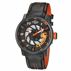 Gv2 By Gevril Menand039s Motorcycle Sport Watch 1304 Automatic Black Leather Date