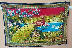 "Vintage Tapestry Wall Hanging Peacock 100% Cotton Made in Turkey 56"" x 38"""