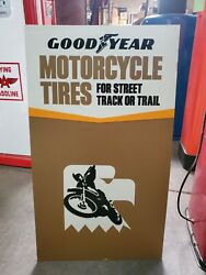 Vintage Goodyear Motorcycle Tires Cardboard Sign. Very Rare. Double Sided.