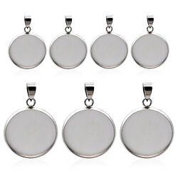 10pcs/lot Stainless Steel Blank Cabochon Base Setting Charms Pendant