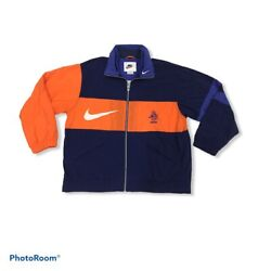 Netherlands Football Trainer Jacket By Nike Spell Out Logo Embroidery Multicolor