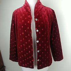 Coldwater Creek Jacket M Ruby Red Velveteen Satin Lined