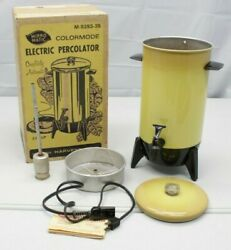 Vintage Mirro-matic Electric Percolator 22 Cup Coffee Pot Harvest Gold Yellow
