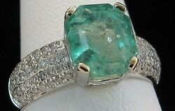 3000 2.4 Ct Genuine Colombian Emerald And 18kwg Pave Diamond Ring