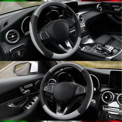 Steering Cover Car Faux For Vw Golf Polo T-roc Tiguan Up Black Gray 37-38 Cm