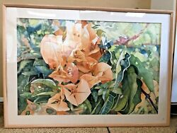 Giant Sized Elyse Signed Peach Colored Floral Watercolor Painting 69.5andrdquo X 49.5andrdquo
