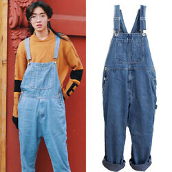 Mens Washed Denim Suspender Overalls Pants Casual Loose Jeans Tousers Plus Size