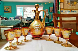 Vintage Rare Murano Ruby Red And Gold Decanter Set From Vince Italy