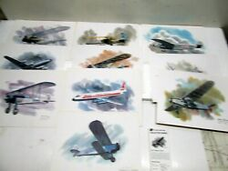 B 10 United Airlines Nixon Galloway Collectors Series Aircraft Prints W/cards