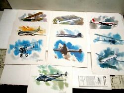 C 10 United Airlines Nixon Galloway Collectors Series Aircraft Prints W/cards