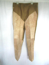 Orvis Men's Leather Faced Briar Pants 36x33 New With Tags Khaki Brown