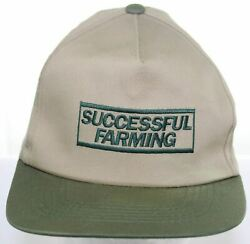 Vintage Successful Farming Snapback Cap Agriculture Magazine Hat - Beige And Green