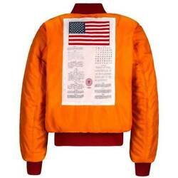 Alpha Industries Blood Chit Military Ma1 Flight Bomber Jacket American Flag Usa