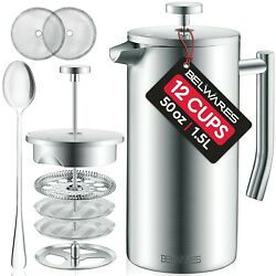 Belwares Stainless Steel French Coffee Press With Double Wall and Extra Filters