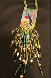 Vintage Robin Beaded Medicine Pouch Necklace Multi Colored Beads