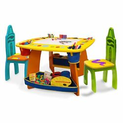 Art Table For Kids Toddler Colorful Wooden Crayola Table And 2 Chair Set Girls Boy
