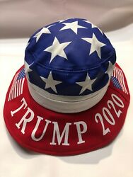 Patriotic Trump 2020 United States American Flag Bucket Hat One Size NWT $17.99