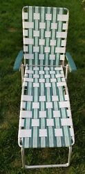 Webbed Vintage Aluminum Folding Chaise Lounge Lawn Chair Green White Sunbeam