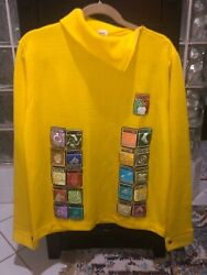 Vintage 1968 Mexico Olympic Sweater With Spectator Pictogram Badges L