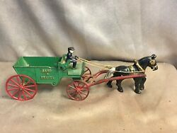 Antique Cast Iron Sand And Gravel Horse And Wagon Toy With Driver