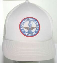 Vintage 1980s Us Army National Guard Aviation Trucker Hat - White Snapback Cap
