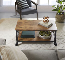 Rustic Coffee Table Country Wood Wheels Dining Living Room Weathered Pine Finish