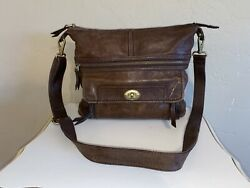 FOSSIL Large Brown Leather Traveler Crossbody Messenger Purse Bag $39.99