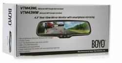 Boyo Vtm43mw - Replacement Rear-view Mirror With 4.3 Tft-lcd Backup Camera...