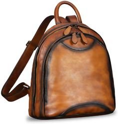 Genuine Leather Backpack Purse for Women Vintage Fashion Bookbag Handmade Casual $241.50