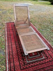 1920s Mahogany And Rattan Cane Steamer Chaise Longue Chair