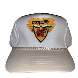 Vintage Mercury Outboard Motors Rare Leather Strapback Rope Patch Hat Boat Fish