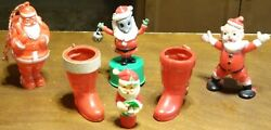 Lot 6 Vtg. Plastic Santa Claus Mouse Push Puppet Boot Ornament Candy Containers