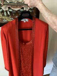 Red Bob Mackie Evening Dress With Jacket All Bugle Beaded For Special Occasion