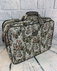 Vintage Pegasus Suitcase Floral Tapestry And Gray Suede Travel Bag Carry On