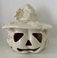 Lenox Classic Fine Porcelain Jack-o-lantern With Witch Hat, Vines, And Spider Webs