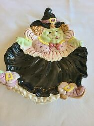 Fitz And Floyd Halloween Hoedown Witch Canapes Plate 1992