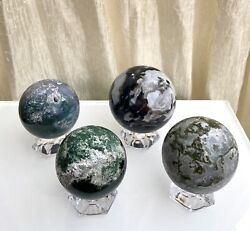 Wholesale Lot 3-4 Pcs 2.8 -3 Lbs Natural Moss Agate Spheres Crystal Ball