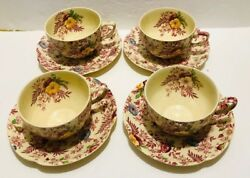 Old English Chintz Pattern Johnson Brother Set Of 4 Flat Cup And Saucer Excellent