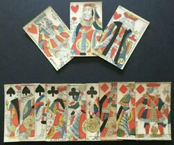 C.1710 Very Old French Playing Cards 12 Courts Only G. De Paris Painted Stencils