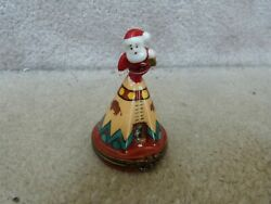 French Limoges Christmas Trinket Box Santa Claus Gift Indian Kids In Teepee 3
