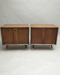 Mid Century Modern Walnut End Tables Nightstands Vintage 1960andrsquos Pair