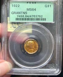 1922 1 Gold Commemorative Pcgs Ms64. No Star. Old Green Label.