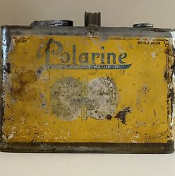 Vintage Early Rare Polarine 1/2 Gal Oil Can Nice Example Of Early Polarine Can